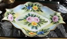 large odd shaped hand painted richard klemm dresden germany footed console bowl