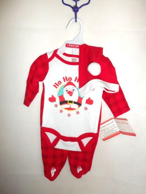 NEW BABY BOYS GIRLS UNISEX XMAS REINDEER SANTA 3 PIECE OUTFIT NEWBORN 0-3 MONTHS