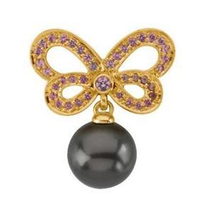 10mm Top Quality Tahitian Black Pearl 18K Yellow Gold Pink Sapphire Brooch