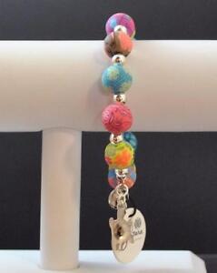 Jilzara-Fresco-Turtle-Charm-Medium-Silverball-Stretch-Bead-Bracelet-Handmade-R3