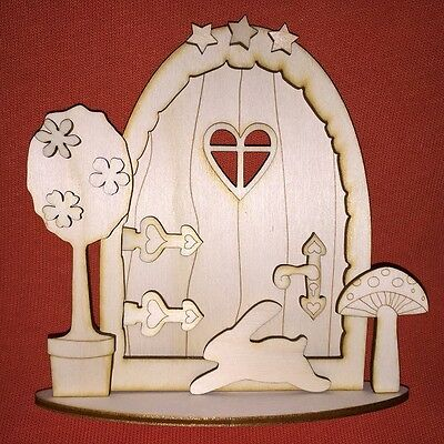 1 x 3D kit (n2) FAIRY / ELF / PIXIE DOOR WOODEN EMBELLISHMENT CRAFT SHAPE