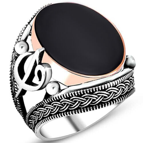 Fashion Details about  /925 Sterling Silver Adjustable 15mm Round Black Agate Ring Rings