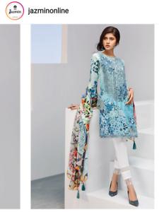 Original Pakistani Jazmin Baroque Sobia Sana Maria Lawn Iris blue
