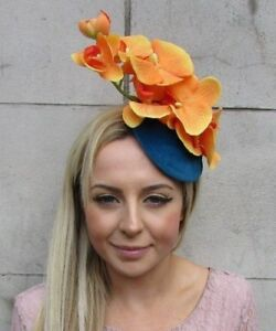 Image is loading Teal-Blue-Orange-Orchid-Flower-Fascinator-Pillbox-Hat- 171e52b0139