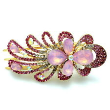 "Sparkling 3.5"" Pink Rhinestone Crystal Gold Beak Duck Hair Jaw Claw Concord Clip"