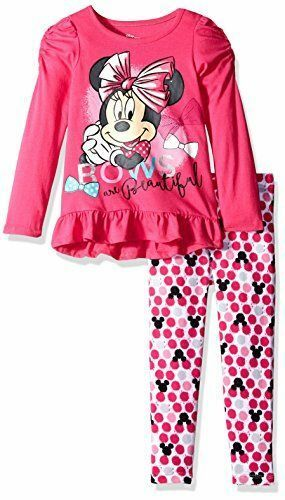 NWT Disney Girls/' 2 Piece High Low Minnie Jersey Top with Printed Legging 12 mon