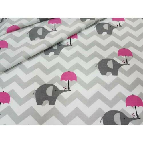 LOVELY grey chevron elephants umbrella pink  FABRIC 100/%COTTON 160cm wide