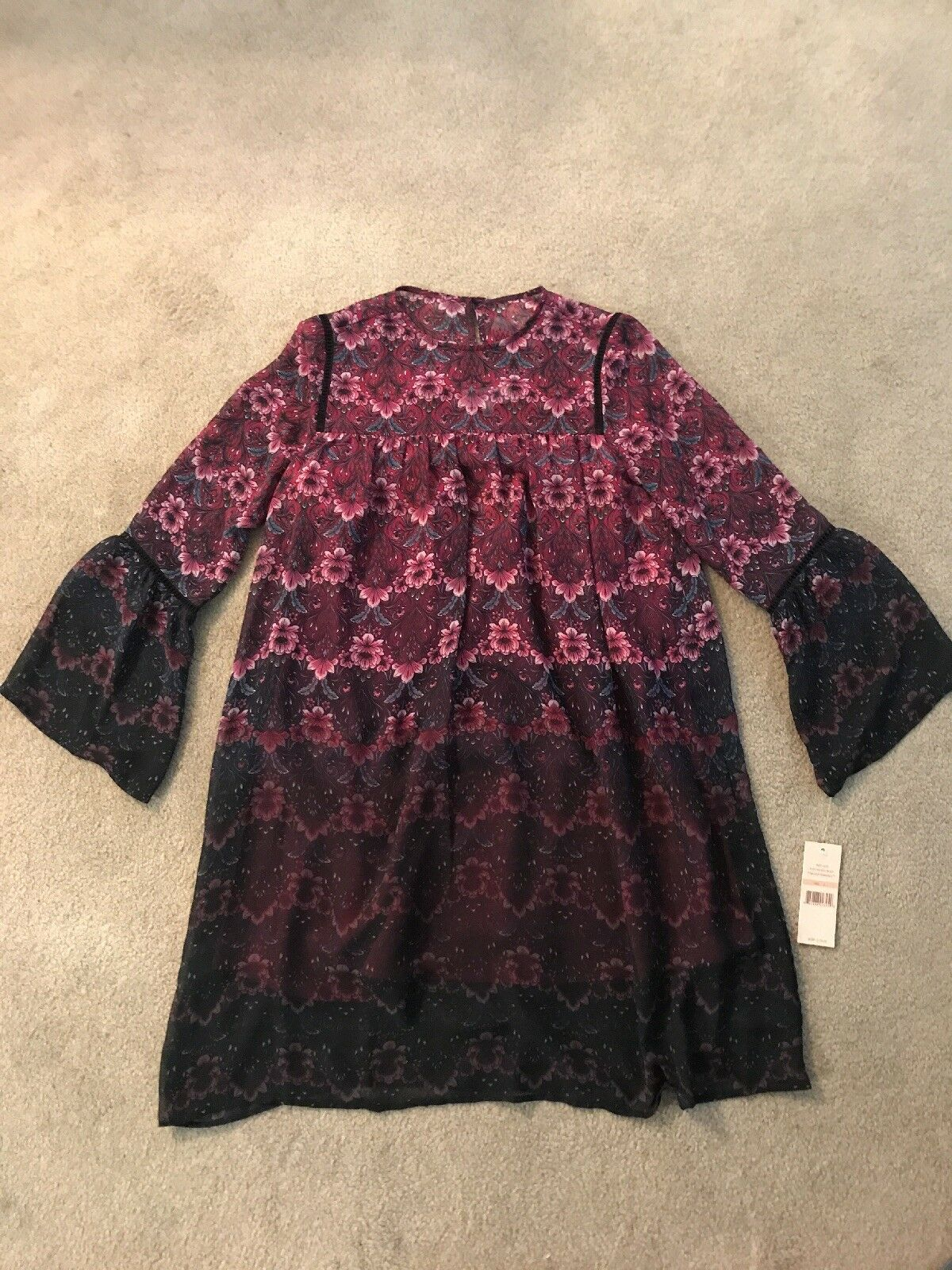 New With Tags Womens Nanette Lepore Dress, Size 2, Bohemian, hippie, deep pinks
