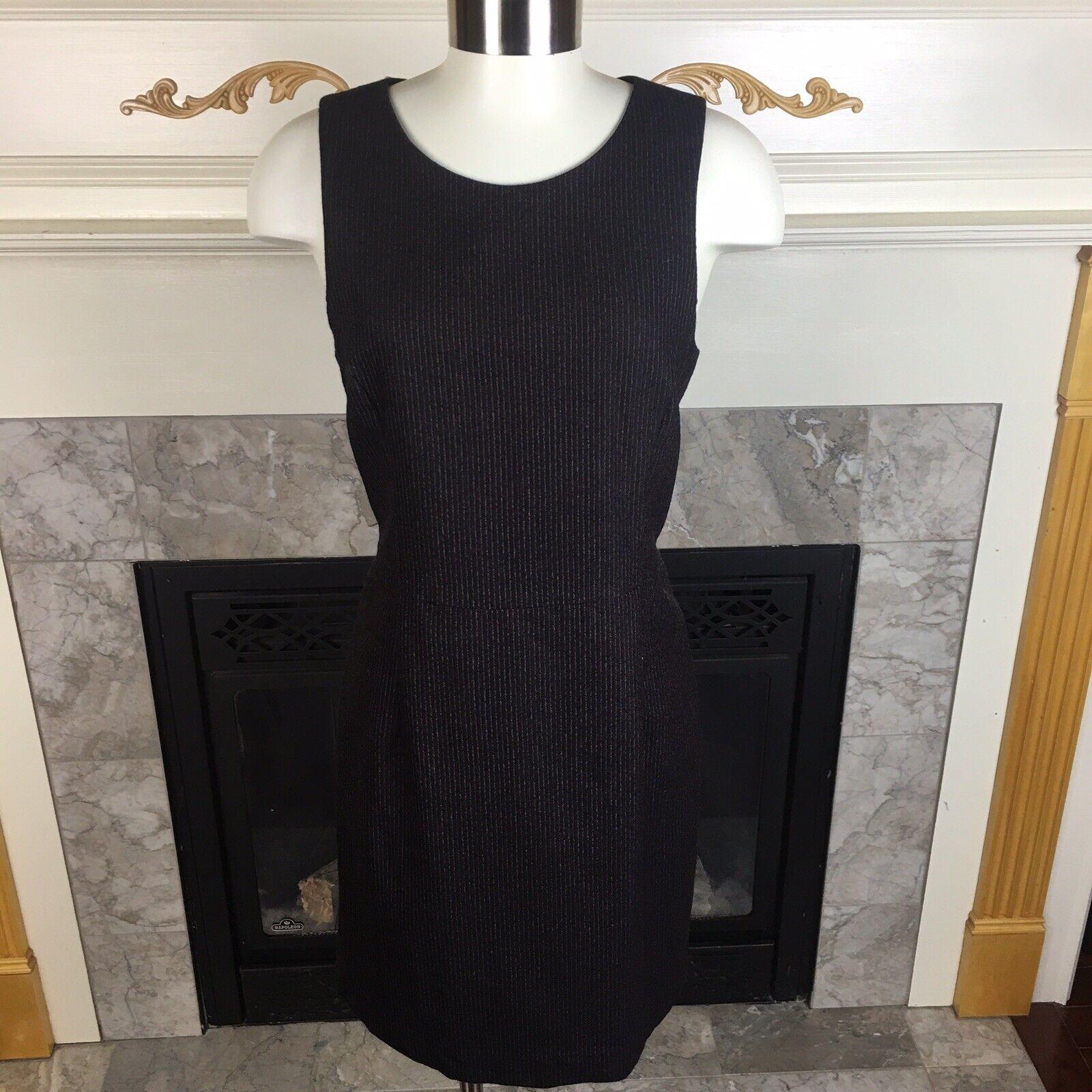 THEORY 10 schwarz rot Pinstripe Sleeveless Virgin Wool Back Zipper Sheath Dress
