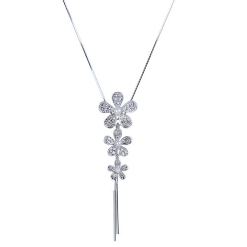 Women Long Silver Tassel Pearl Flower Pendant Necklace Chain Sweater Jewelry N,X