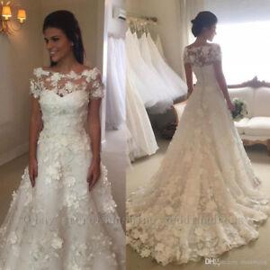 3ff5195f7784a Details about 3D Floral Appliques Lace Wedding Dress Vintage Cap Sleeve  Beach Boho Bridal Gown