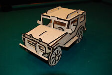Laser Cut Wood Jeep Scale Model truck Puzzle Kit no glue required easy assembly