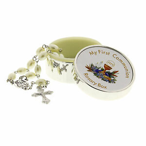 Rosary-Box-amp-Beads-Icon-Cross-Childrens-My-First-Communion-Silver-Plt-Engraved