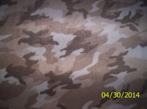 New Tan Winter Woodland Camouflage camo Fleece fabric by the yard