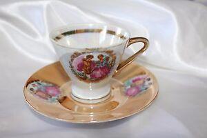 Vintage-Demitasse-Cup-amp-Saucer-Teacup-Best-Porcelain-Atallah-Opalescent-Pearl