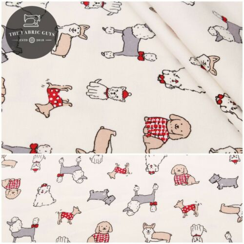 """Soft Brushed 100/% Flannel Cotton Fancy Dogs 60/"""" Red Bows /& Sweaters"""