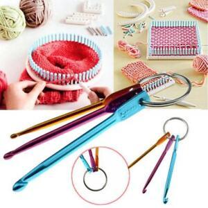 3Pcs/Set Aluminum Crochet Hooks On Keychain Keyring Knitting Needles Craft HC