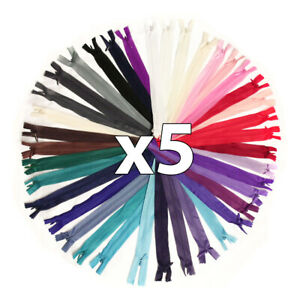 """x 5 x CONCEALED No.3 INVISIBLE 6""""- 18"""" NYLON ZIPS *19 COLOURS * CLOSED END ZIP"""