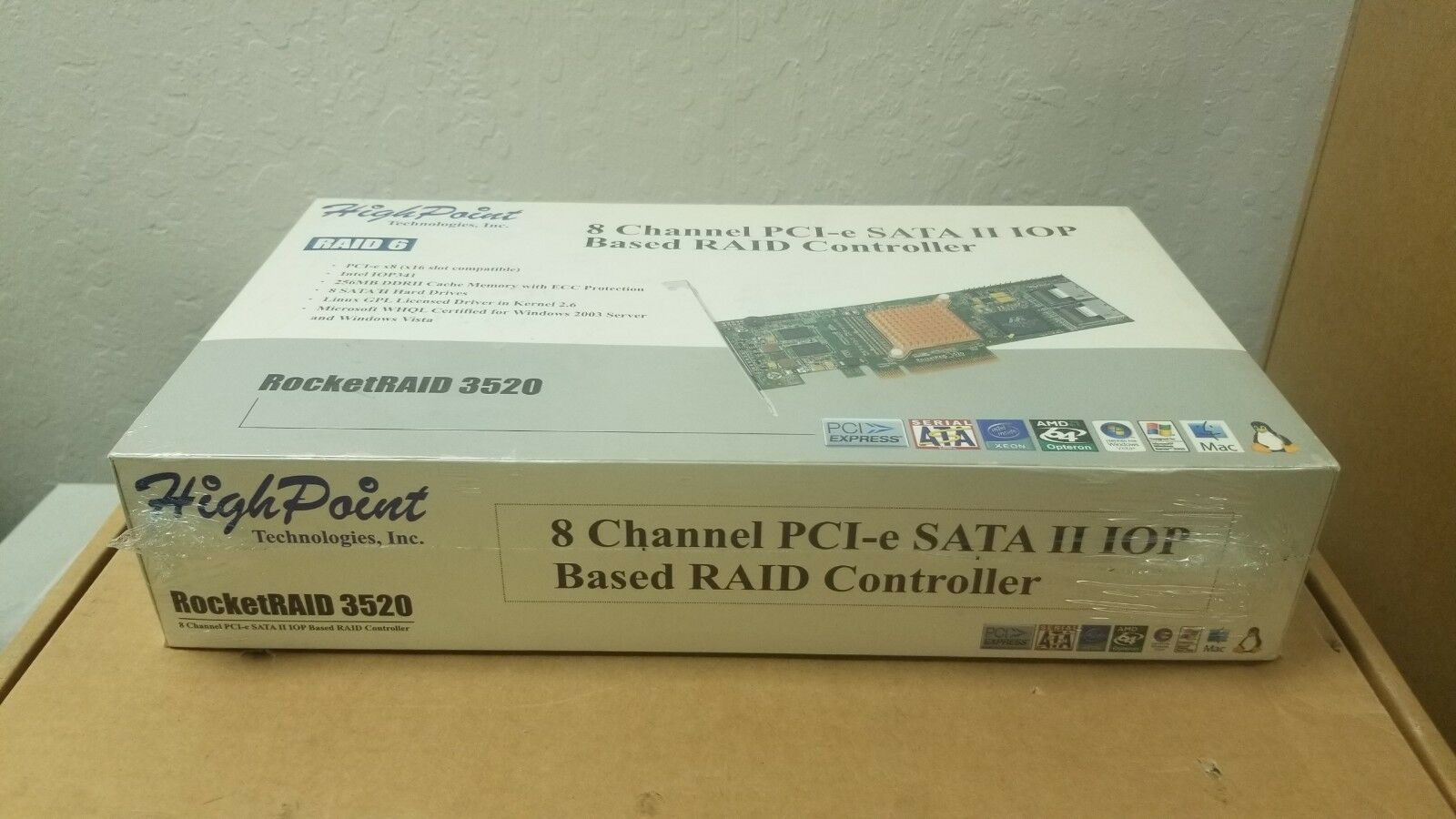 HighPoint 3520 8 Channel RAID Controller Card PCIe SATA IOP Base
