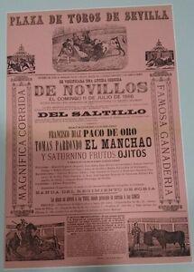 ANTIGUO-CARTEL-PLAZA-DE-TOROS-DE-SEVILLA-1886-CON-PASPARTU-50x36-Centimetros