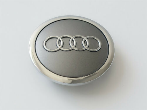 Audi Grey //Chrome Wheel Centre Caps 69MM x4 For A3 A4 A5 TT Q3 Q5 Q7 S Line