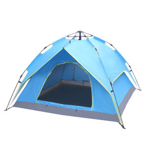 Details about 2-3 Person Double-Deck Tent Two-Door Automatic Tent Free  Build Camping Tent Blue