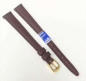 Time-Fashions-11mm-Burgundy-Tone-Leather-Gold-Tone-Buckle-Watch-Band