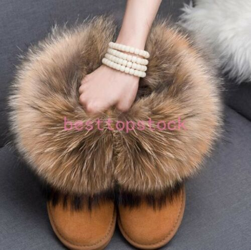 Women/'s Anti-SKID Winter Ankle Snow Boots Real Fox Fur RACCOON FUR Lined Shoes