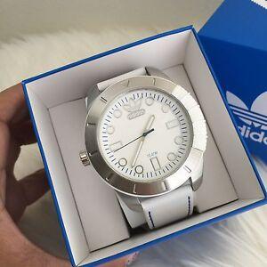 NWT-Adidas-ADH3036-Men-039-s-48mm-White-Calfskin-Stainless-Steel-Case-Quartz-Watch
