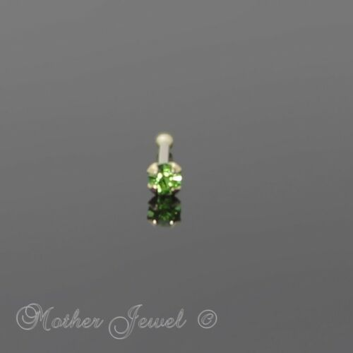 22g Genuine Real Solid 9k Yellow Gold 1 5mm Peridot Ball End Nose