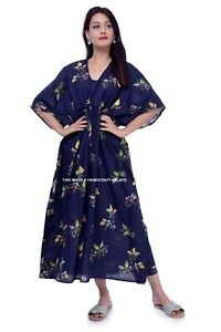 Women-039-s-Boho-Long-Blue-Floral-Cotton-Indian-Long-Maxi-Dress-Kaftan-Night-Gown