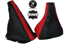 BLACK & RED LEATHER GEAR & HANDBRAKE GAITERS FITS OPEL VAUXHALL CORSA C COMBO