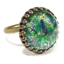 SoHo® Ring vintage bronze bohemia 1960er Jahre handgemachtes Glas grün fireopal
