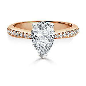 2.40 Ct Pear Cut Moissanite Engagement Ring Solid 18K Rose Gold ring Size 9.5