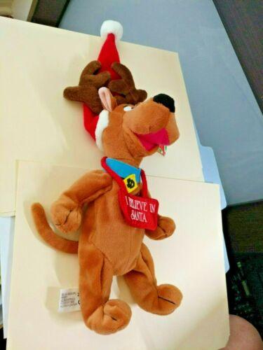 """Scooby Doo bean bag Christmas 9/"""" Reindeer /""""I Believe In Santa/"""" WB.1999 NWT"""