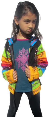 Girls Rainbow Printed Hoodie Hippie Bohemian Cute Long Hood Kids Black Jacket