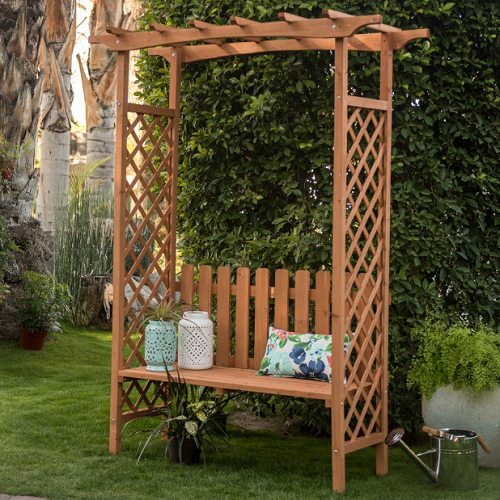 Large Garden Arbor With Bench Wood Arch Trellis Pergola Plant