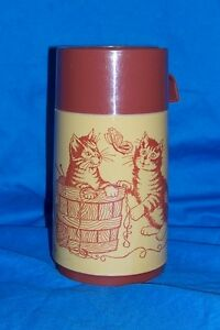 Vintage Kittens Playing Aladdin Thermos Lunchbox Plastic Lunch Box Tan Kitten