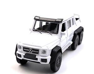 Mercedes-Benz-G63-6x6-AMG-Modele-de-Voiture-Blanc-Auto-Masstab-1-3-4-Licence