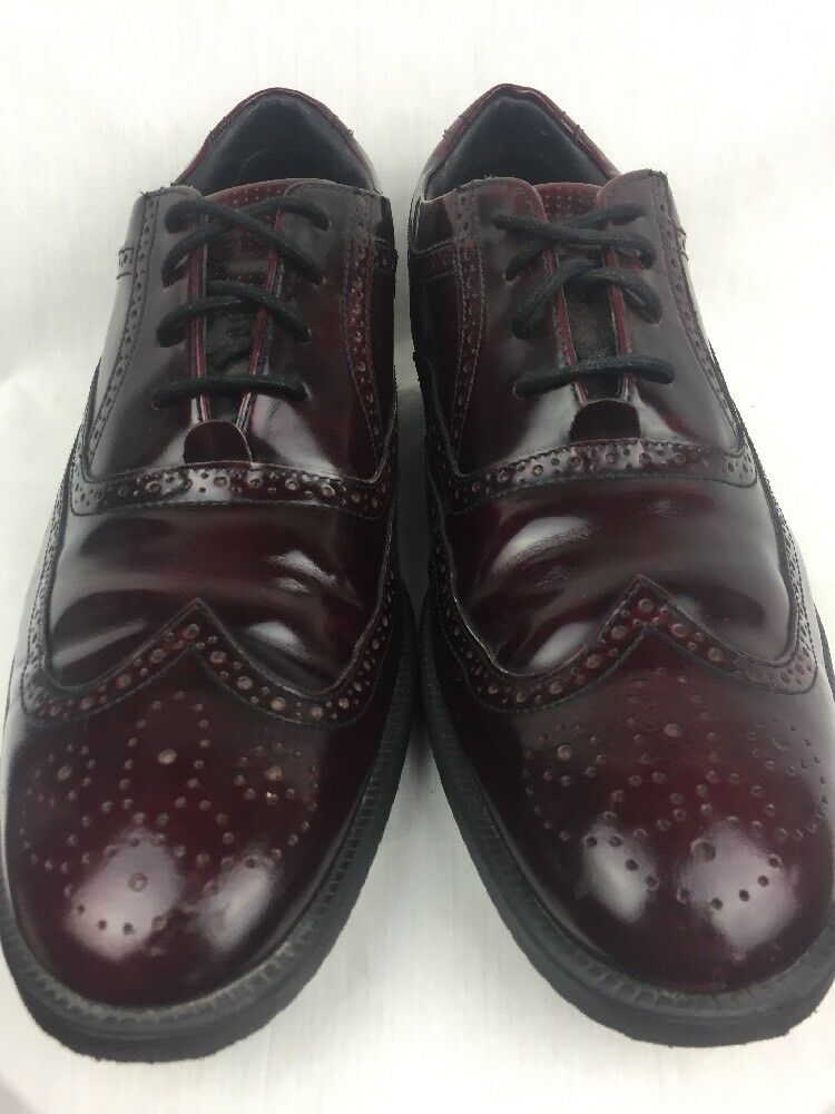 Rockport Cordovan Leather Wing Tip Dress shoes 11.5M Comfort Walking Adidas Sole