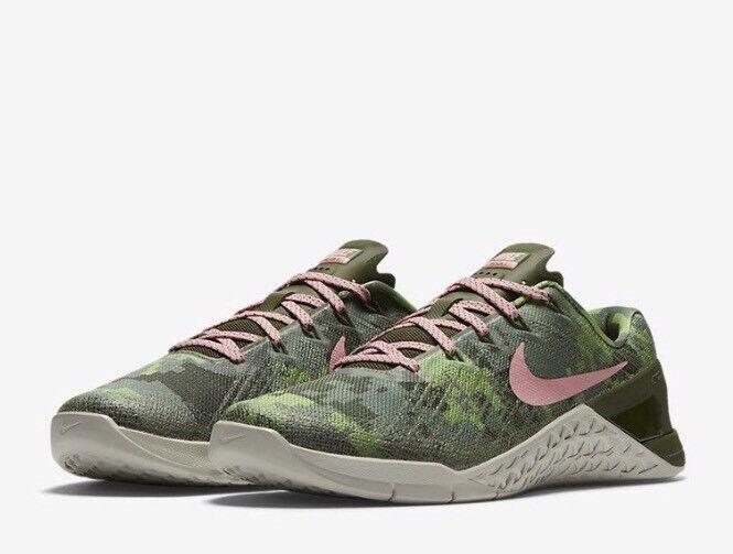 Nike Metcon 3 AMP Women Training Lift Run shoes 849808 300 Camo Green Size 11.5