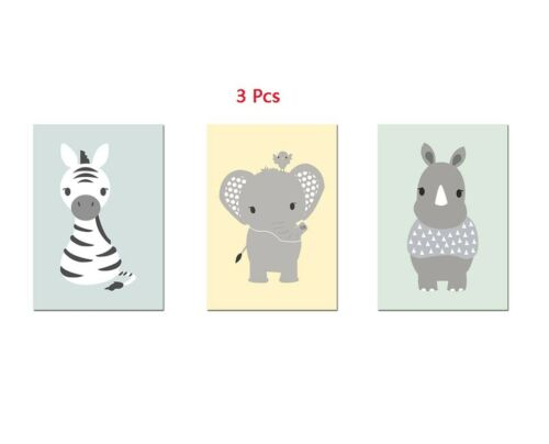 Kids Cartoon Poster Picture Cute Animal Canvas Painting Nursery Art Mural Decor
