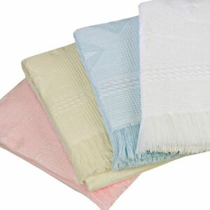 BABYPREM-LARGE-BABY-SHAWL-BLANKET-122-X-122CM-WHITE-CREAM-PINK-BLUE-STAR-DESIGN