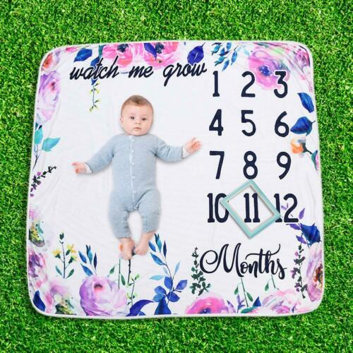 UK Baby Girl Boy Floral Cotton Blanket Milestone Photography Photo Props Shoots