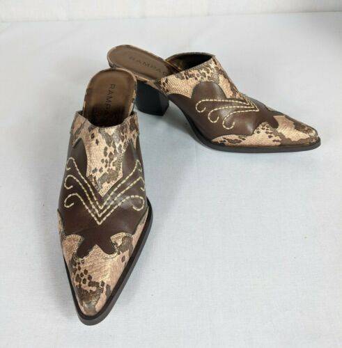 Rampage Rilley Pointed Toe Western Mules Brown Fau