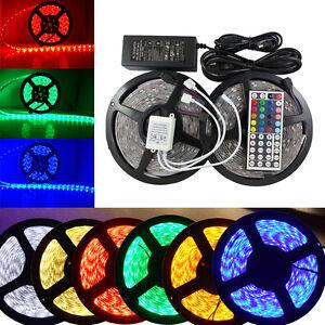 10m led strip rgb band 5050 smd lichterkette licht leiste streifen ir netzteil ebay. Black Bedroom Furniture Sets. Home Design Ideas