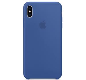 Echt-Original-Apple-iPhone-XS-Silikon-Huelle-Silicone-Case-Blue-Delftblau