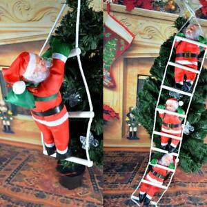 Christmas-Santa-Claus-Climbing-On-Rope-Ladder-Xmas-Trees-Hanging-Home-Decor-US