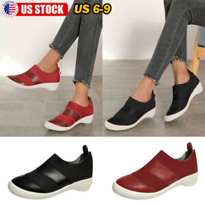 womens autumn arch support casual shoes slip on round toe
