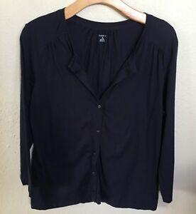 Lands-End-Women-039-s-3-4-Sleeve-Scoop-Neck-Navy-Blue-Button-Blouse-Knit-Top-Sz-M